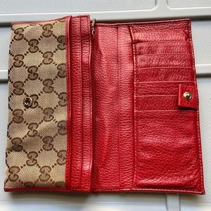 GUCCI- GG canvas/ leather continental wallet